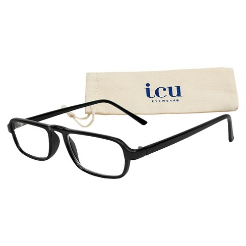 ICU Eyewear Rectangle Reading Glasses with Case - Classic Black : Target