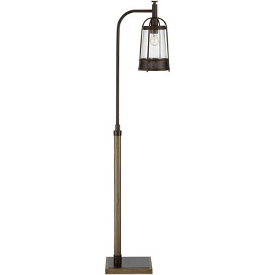 Franklin Iron Works Modern Farmhouse Downbridge Floor Lamp Oil Rubbed Bronze Faux Wood Seeded Clear Glass for Living Room Reading
