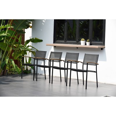 4pk Veronica Patio Quick Dry Stacking Sling Chairs with Teak Finish & Aluminum - Black - Amazonia
