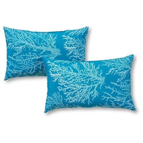 Set of 2 Sea Coral Outdoor Rectangle Throw Pillows - Kensington Garden - image 1 of 3