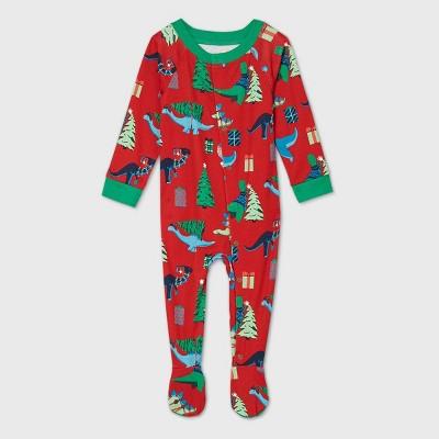 Baby Holiday Dinosaur Print Matching Family Footed Pajama - Wondershop™ Red 3-6M