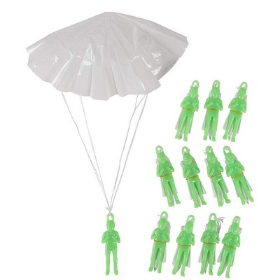 Juvale 12-Pack Mini Parachute Army Men, Glow in the Dark Paratrooper Parachute Toy Set