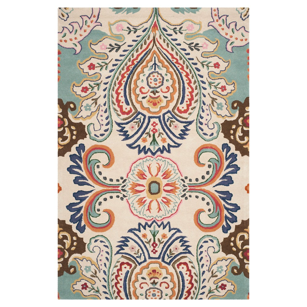 6'X9' Harvey Tufted Area Rug Ivory/Blue - Safavieh, Blue White