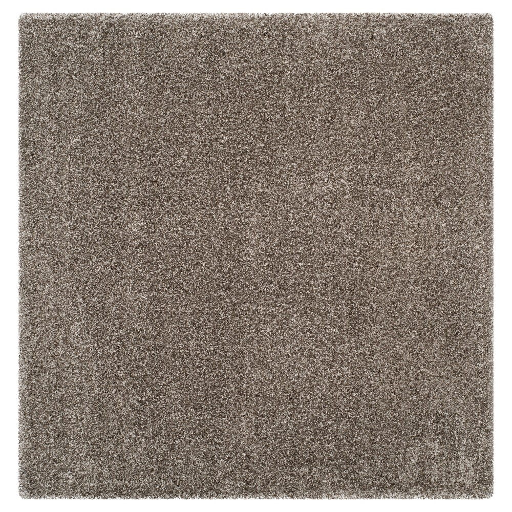 Gray Solid Shag/Flokati Loomed Square Area Rug - (5'1