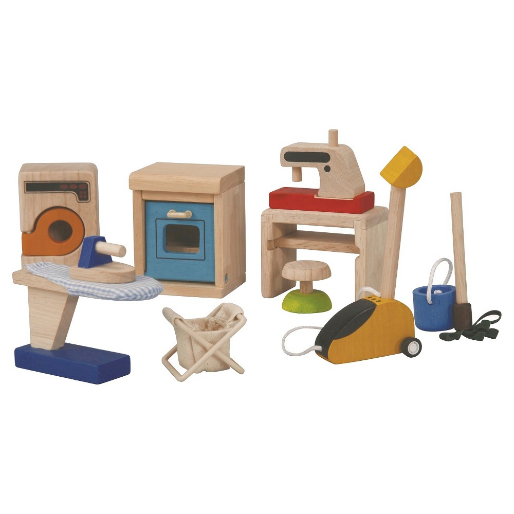 Plan Toys Play Household Accessories This set contains a washing machine, a vacuum cleaner, a dishwasher, a bucket, a basket, a mob, a chair, an ironing board with an iron and a sewing machine. Gender: Unisex.