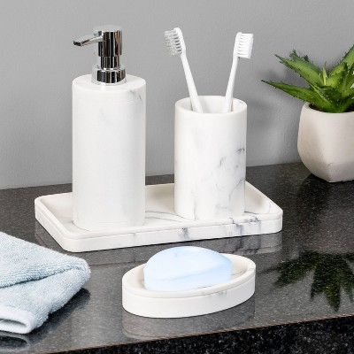 4pc Marble Bathroom Set White - Honey Can Do