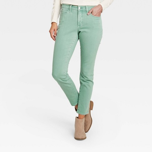 Women's Mid-Rise Skinny Stretch Ankle Jeans - Universal Thread™ Green - image 1 of 4