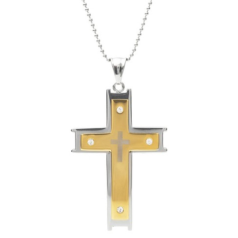 """Men's 3/8 CT. T.W. Round-cut CZ Inlaid Set Cross Pendant Necklace in Stainless Steel - Gold (20"""") - image 1 of 4"""