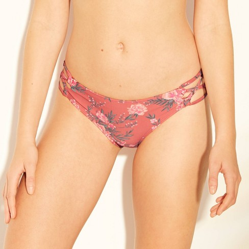 Women's Strappy Cheeky Hipster Bikini Bottom - Xhilaration™ Clay Floral - image 1 of 4