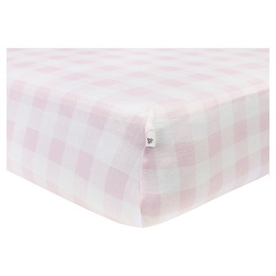 Burt's Bees Baby® Organic Fitted Crib Sheet - Buffalo Check - Blossom Pink