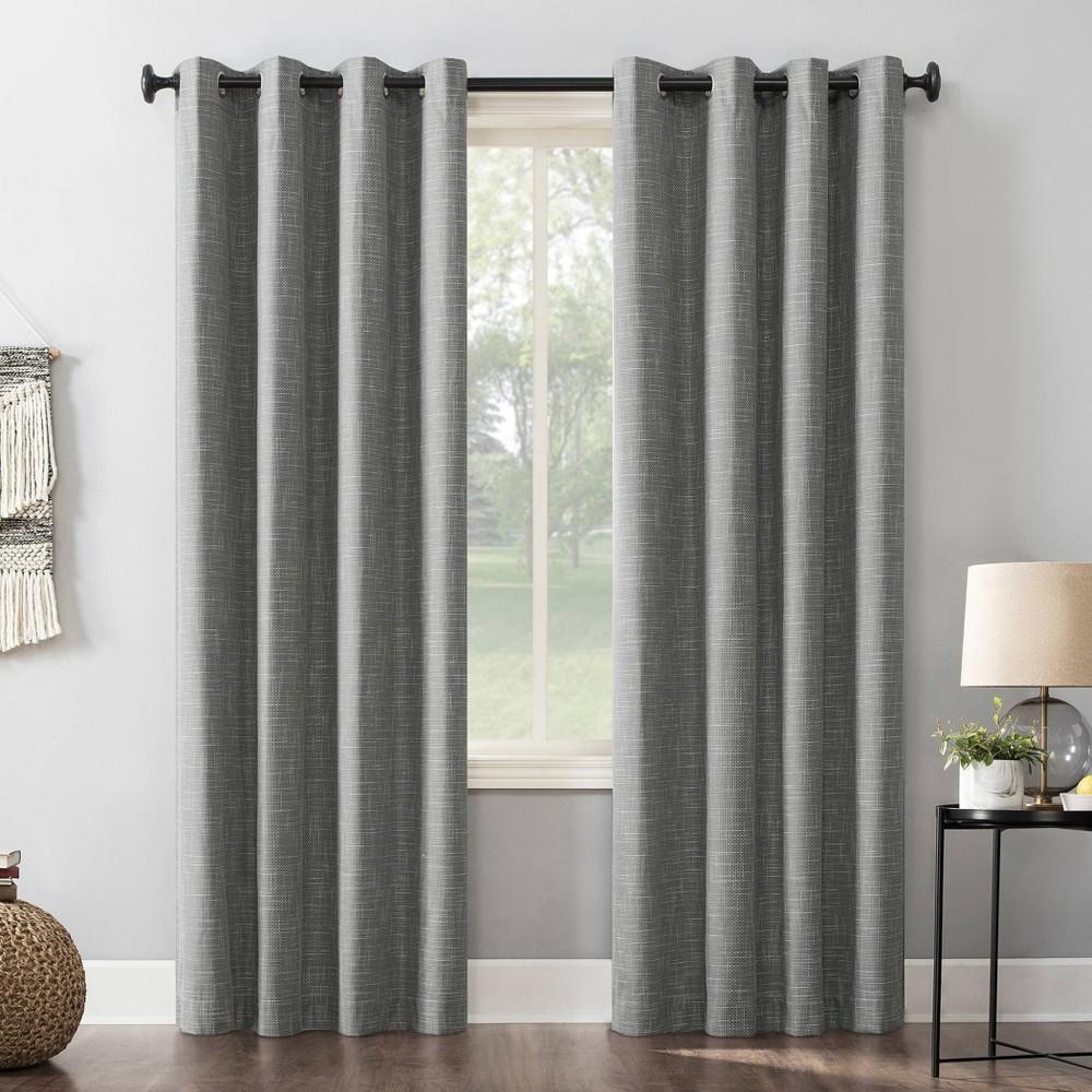 84 34 X52 34 Kline Burlap Weave Thermal 100 Blackout Grommet Top Curtain Panel Gray Sun Zero