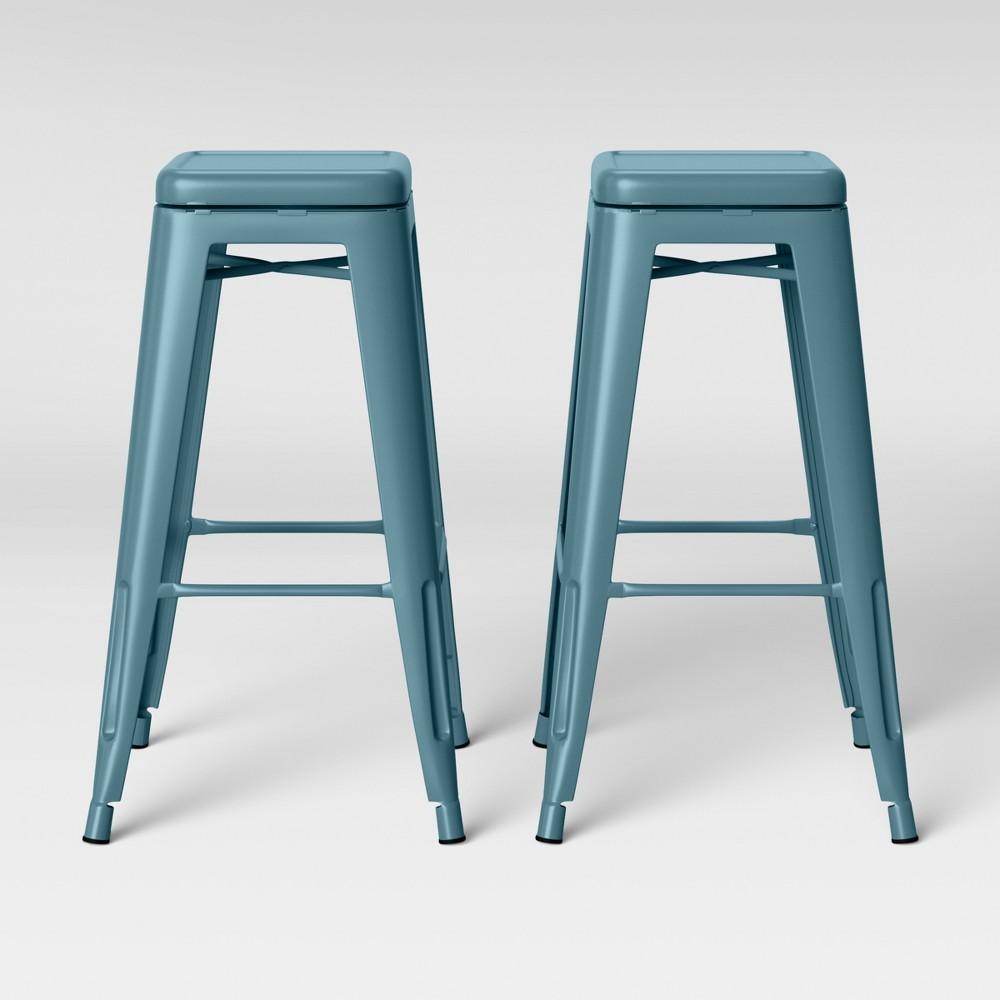 Set of 2 Carlisle Backless Swivel Barstool Teal (Blue) - Threshold
