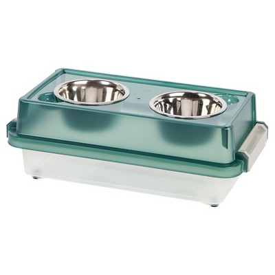 IRIS 6  Elevated Feeder with Airtight Storage Cat/Dog Bowl - Green - Small