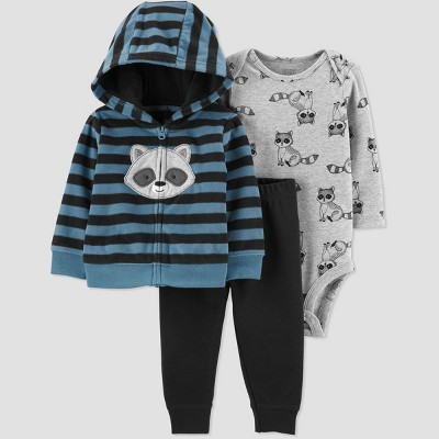 Baby Boys' Racoon North Striped Cardigan Top & Bottom Set - Just One You® made by carter's Blue/Gray/Black Newborn