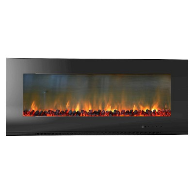 """Cambridge CAM56WMEF-2BLK Metropolitan 56"""" Wall Mount Electronic Fireplace with Flat Panel and Realistic Logs"""