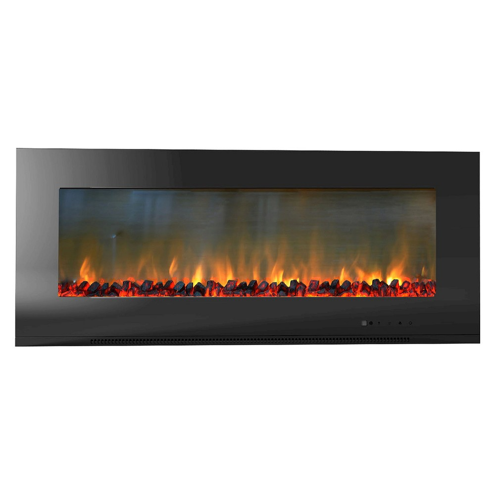 Cambridge CAM56WMEF-2BLK Metropolitan 56 In. Wall-Mount Electronic Fireplace with Flat Panel and Realistic Logs, Black