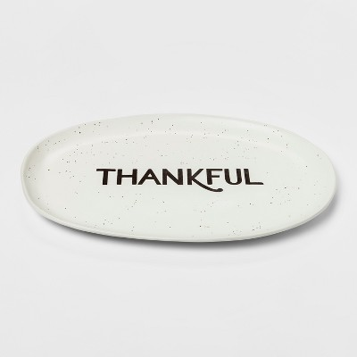 16.3  x 10.9  Ceramic Thankful Serving Platter White/Brown - Threshold™