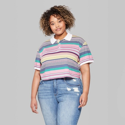 44d7829d0eb9b Women s Plus Size Striped Short Sleeve V-Neck Boxy Polo Shirt - Wild Fable™  Pink Purple