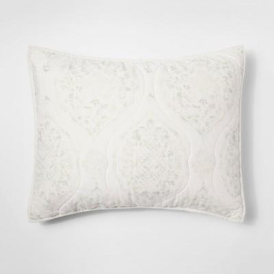 Green Damask Linen Blend Pillow Sham (Standard)- Threshold™