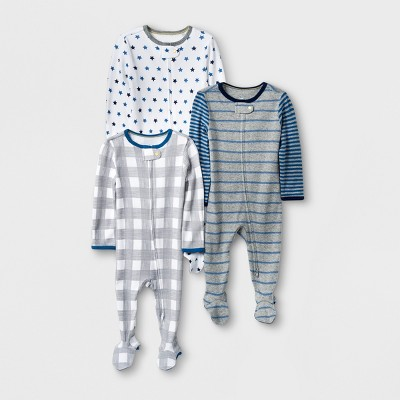 Baby Boys' 3pk Print Sleep 'N Play - Cloud Island™ Gray/Blue 0-3M
