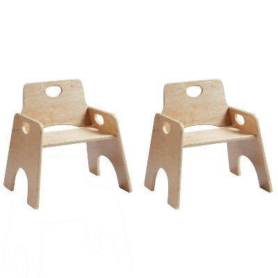 ECR4Kids Stackable Hardwood Chair for Toddlers - Wooden Seats for School or Home, 2-Pack