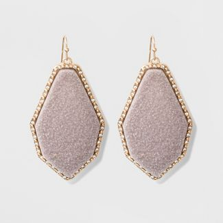 SUGARFIX by BaubleBar Luminous Druzy Drop Earrings - Light Gray