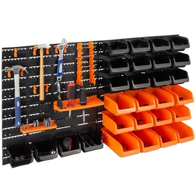 Best Choice Products 38x21.25in 44-Piece Wall Mounted Garage Storage Rack, Tool Organizer w/ 110lb Capacity