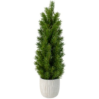 """Northlight 17"""" Mini Fir Artificial Christmas Tree with Stone Base - Unlit"""