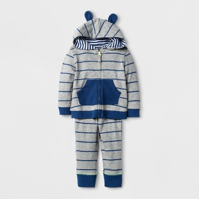 Baby Boys' 2pc Stripe Hoodie and Jogger Set Cloud Island™ - Navy 3-6M