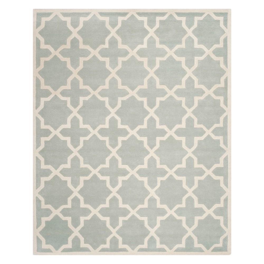 Quatrefoil Design Tufted Area Rug Gray/Ivory