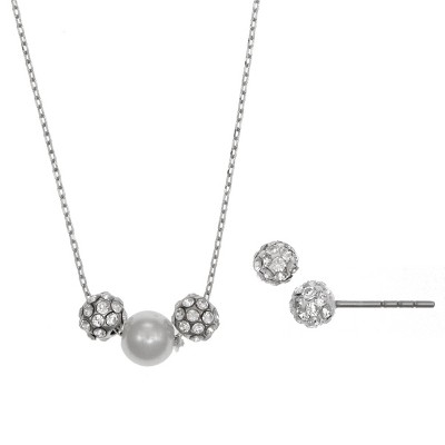 FAO Schwarz Fine Silver Plated Fireball and Simulated Pearl Necklace and Stud Earring Set