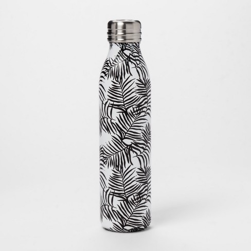20oz Venti Air Transfer Stainless Steel Portable Water Bottle Black/White Palm Leaves - Room Essentials™ - image 1 of 1