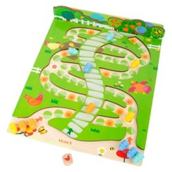 Small Foot Wooden Toys 2 in 1 Ludo and Snakes and Ladders Game Caterpillars
