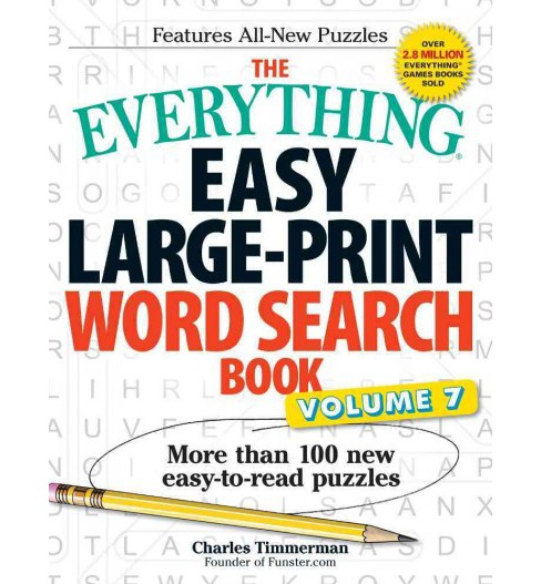 Everything Easy Large-print Word Search Book : More Than 100 New Easy-to-read Puzzles (Vol 7) - image 1 of 1