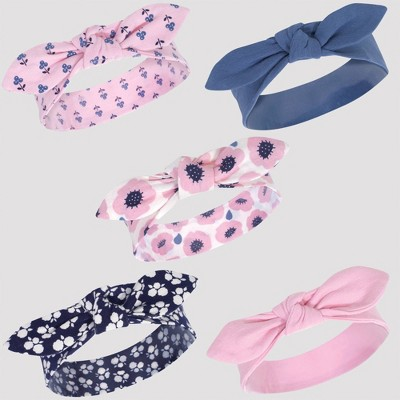 Touched by Nature Baby 5pk Organic Cotton Headbands - Pink/Blue 0-24M