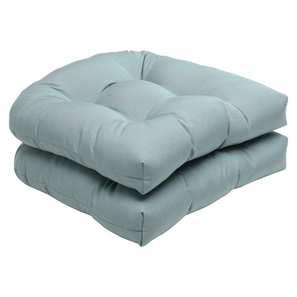 2pc Outdoor Wicker Seat Cushion Set - Blue - Sunbrella