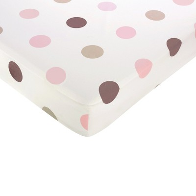 Sweet Jojo Designs Pink Mod Dots Fitted Crib Sheet - Large Dot