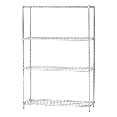 IRIS 4 Tier Metal Wire Shelving Unit Heavy Duty Silver