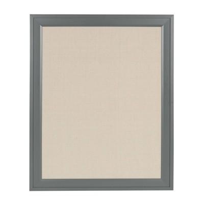 "24"" x 30"" Bosc Framed Linen Fabric Pinboard Gray - DesignOvation"