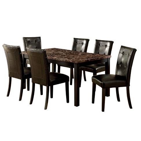 Iohomes 7pc Faux Marble Dining Table Set Woodblack Target