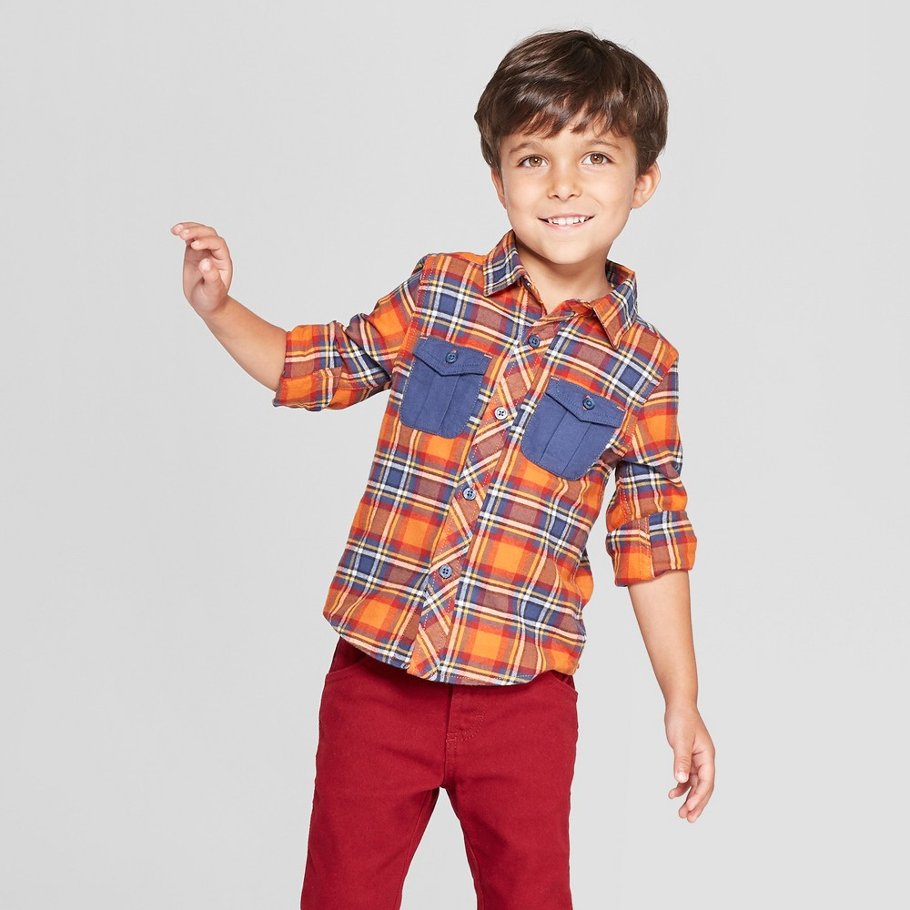 Image of Genuine Kids from OshKosh Toddler Boys' Long Sleeve Flannel Shirt - Orange 12M, Toddler Boy's