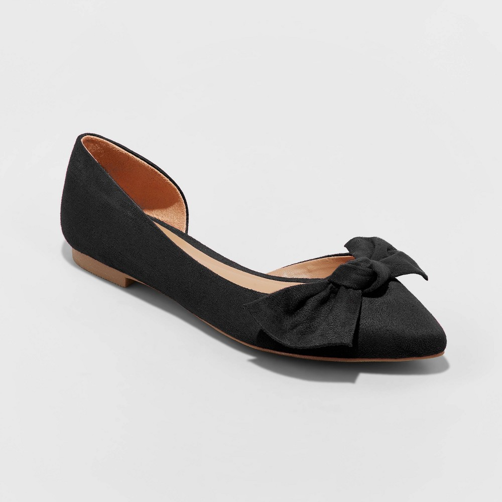 Women's Jayme Gingham Bow Ballet Flats - A New Day Black 6.5