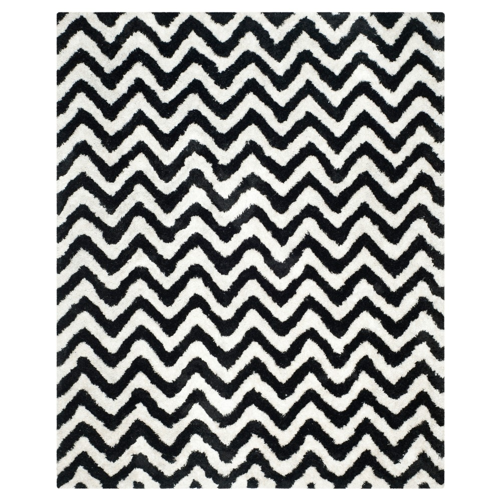Ivory/Black Chevron Shag and Flokati Tufted Area Rug 9'X12' - Safavieh