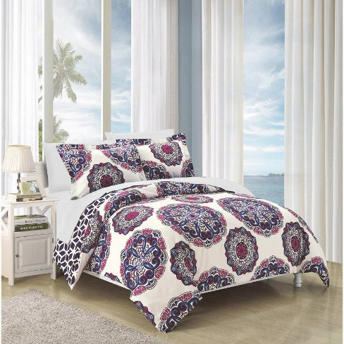 Aragona Printed Medallion Reversible with Geometric Printed Backing Duvet Cover Set - Chic Home Design - image 1 of 3