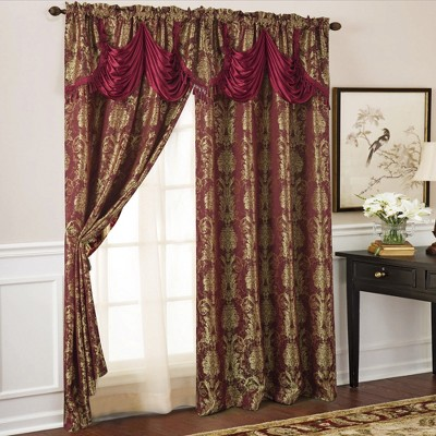 Ramallah Trading Gloria Floral/Damask Textured Jacquard 54 x 84 in Single Rod Pocket Curtain Panel w/ Attached 18 in Valance