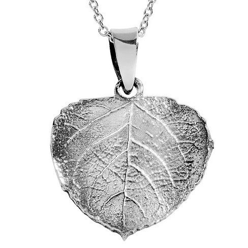 "Women's Journee Collection Aspen Leaf Pendant Necklace in Sterling Silver - Silver (18"") - image 1 of 2"
