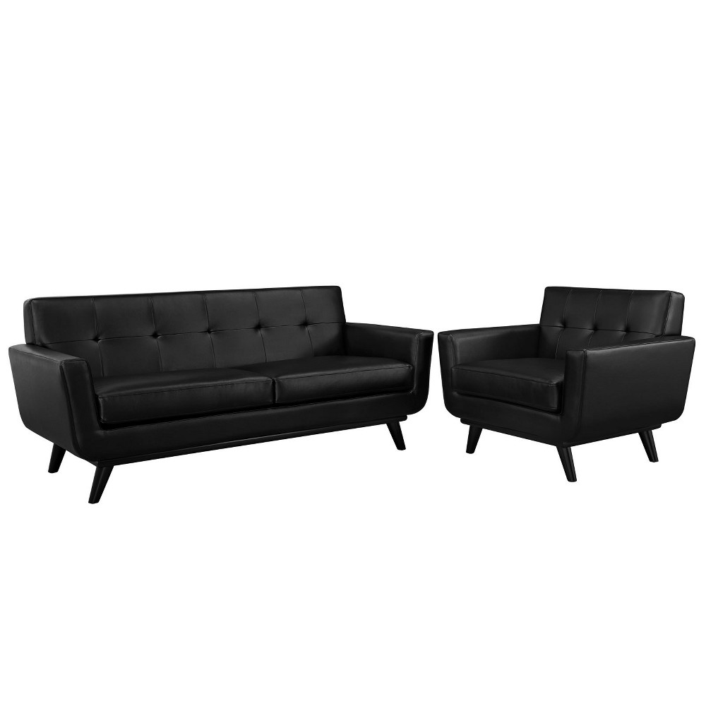 Engage 2pc Leather Living Room Set Black - Modway