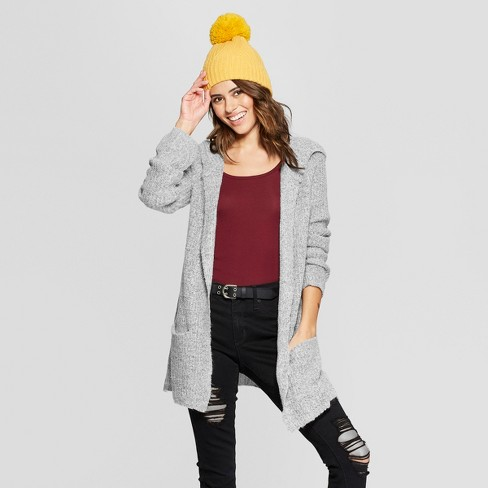 Women's Long Sleeve Shaker Rib Hooded Cardigan - Almost Famous (Juniors') Light Gray L - image 1 of 2