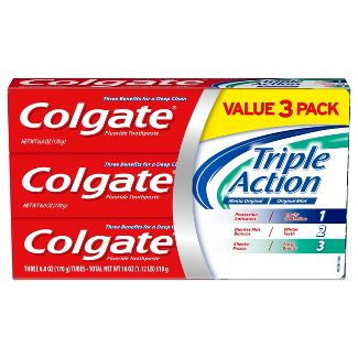 Colgate Triple Action Whitening Toothpaste with Anticavity Protection - Mint - 6oz/3pk