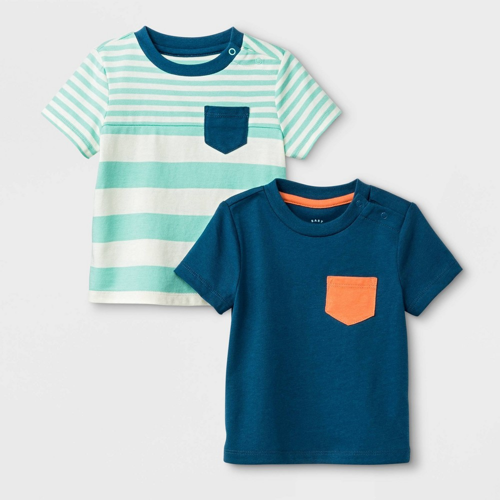 Image of Baby Boys' 2pk Pocket T-Shirt Set - Cat & Jack Blue/Green 0-3M, Boy's